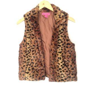 Betsey Johnson Leopard Animal Print Fur Vest S